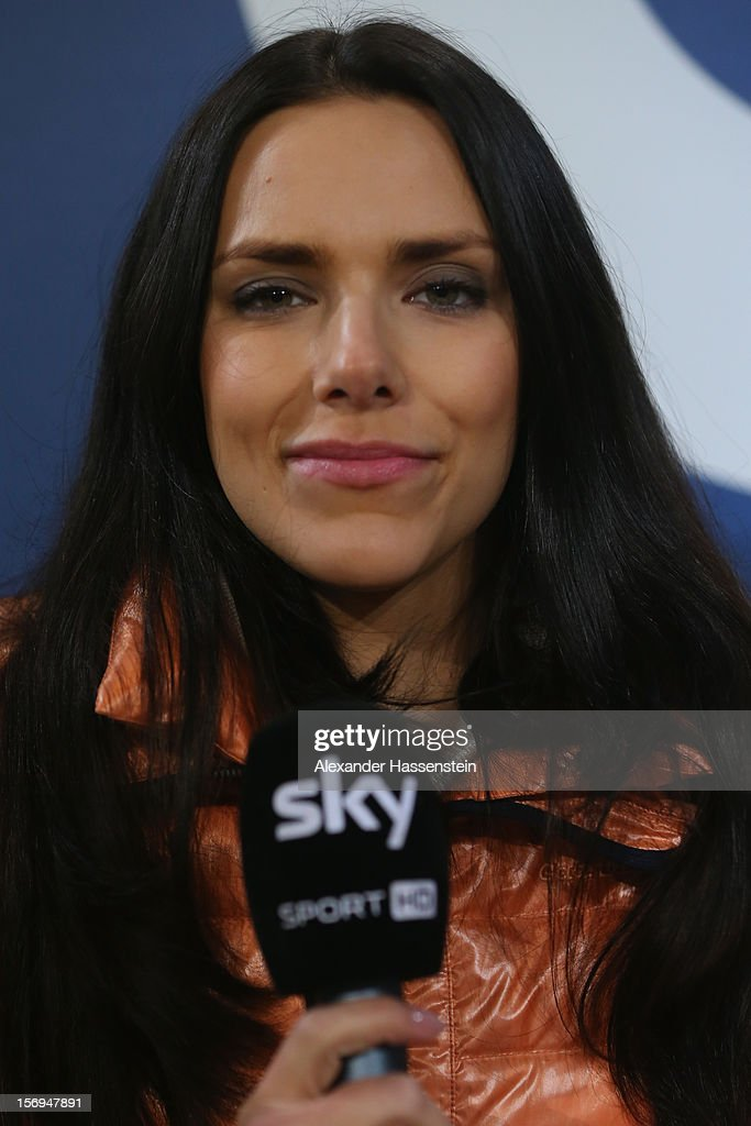 TV presenter Esther Sedlaczekof looks on during the Bundesliga match between FC Augsburg and VfL Borussia Moenchengladbach at SGL Arena on November 25, 2012 in Augsburg, Germany.