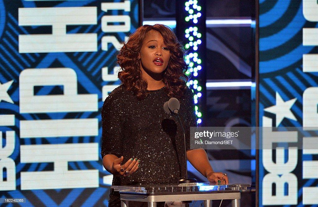 Presenter Eve speaks onstage at the BET Hip Hop Awards 2013 at Boisfeuillet Jones Atlanta Civic Center on September 28, 2013 in Atlanta, Georgia.