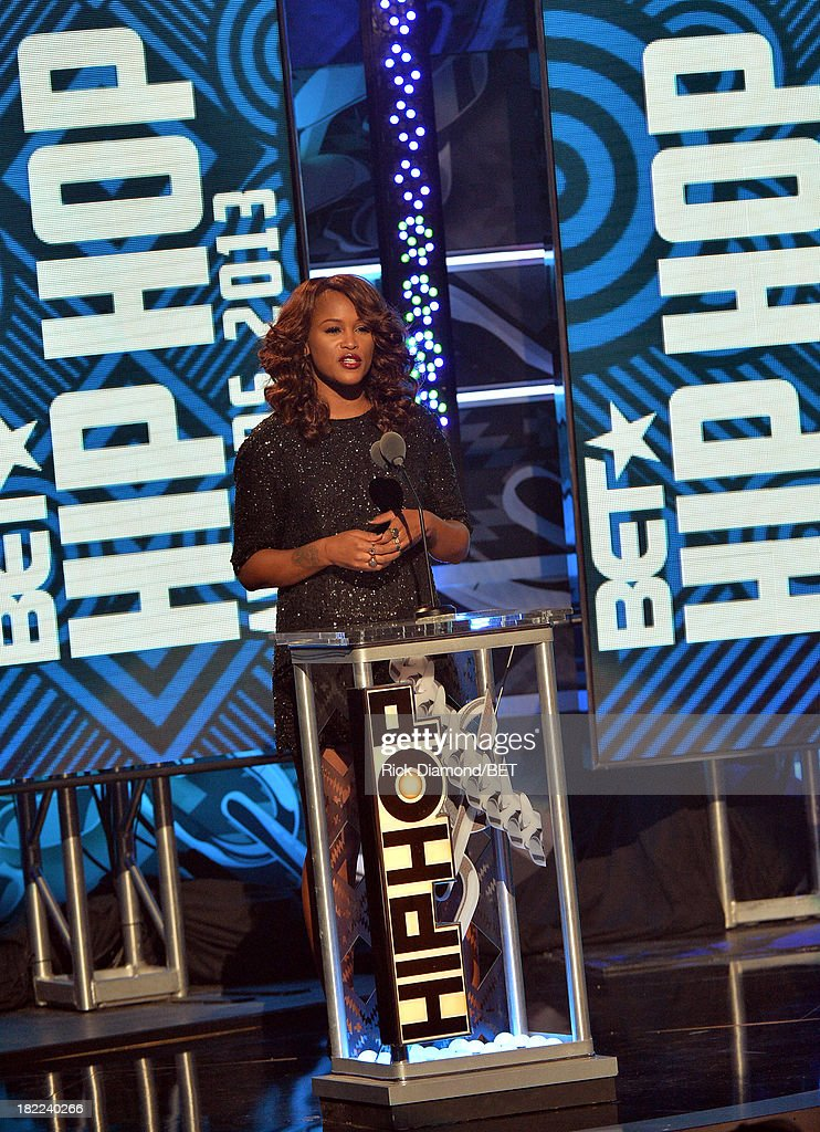 Presenter Eve speaks onstage at the BET Hip Hop Awards 2013 at Boisfeuillet Jones Atlanta Civic Center on September 28, 2013 in Atlanta, Georgia.