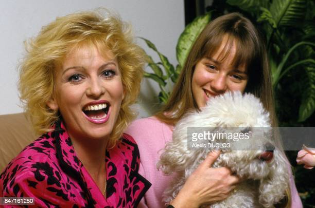 TV presenter Evelyne Leclercq with daughter Celine on March 23 1990 in France