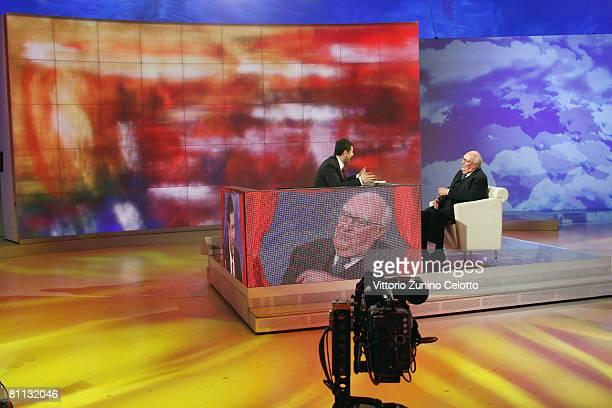 Presenter Fabio Fazio and Author Andrea Camilleri make an appearance on the 'Che Tempo Che Fa' TV show at RAI studios on May 17 2008 in Milan Italy
