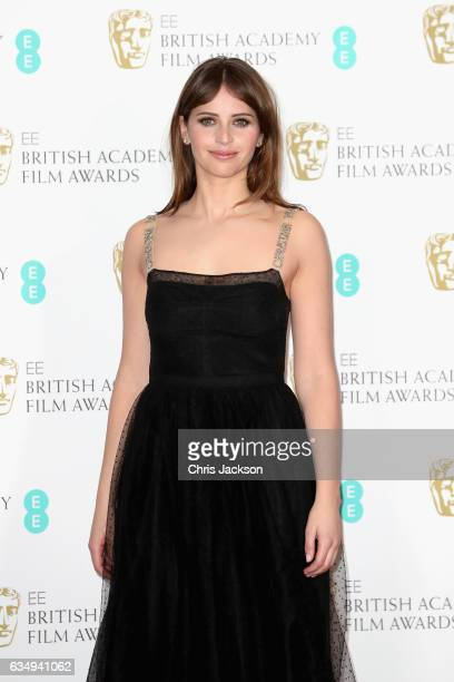 Presenter Felicity Jones poses in the winners room during the 70th EE British Academy Film Awards at Royal Albert Hall on February 12 2017 in London...