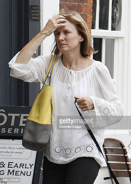 TV presenter Fiona Bruce takes her dog for a walk on August 20 2015 in London England