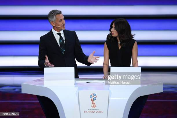 Presenter Gary Lineker and presenter Maria Komandnaya speak during the Final Draw for the 2018 FIFA World Cup Russia at the State Kremlin Palace on...