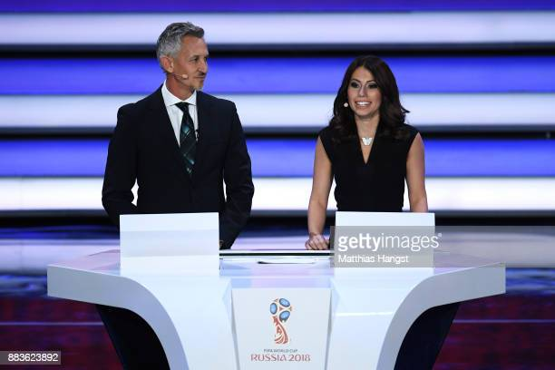 Presenter Gary Lineker and Presenter Maria Komandnaya speak to the audience during the Final Draw for the 2018 FIFA World Cup Russia at the State...