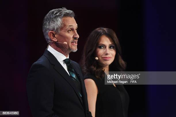 Presenter Gary Lineker speaks to the audience as Presenter Maria Komandnaya looks on during the Final Draw for the 2018 FIFA World Cup Russia at the...