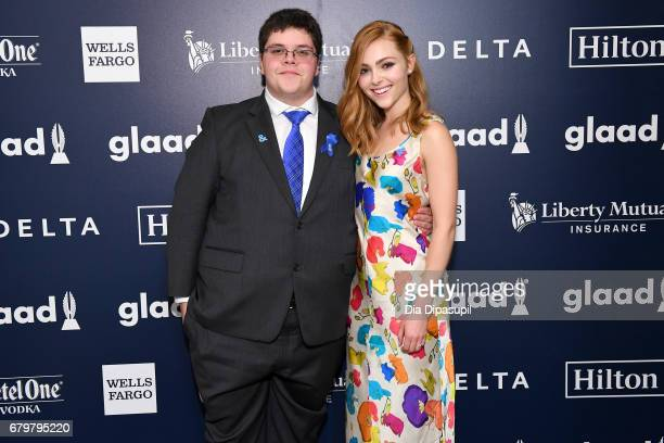 Presenter Gavin Grimm and AnnaSophia Robb pose backstage at the 28th Annual GLAAD Media Awards at The Hilton Midtown on May 6 2017 in New York City