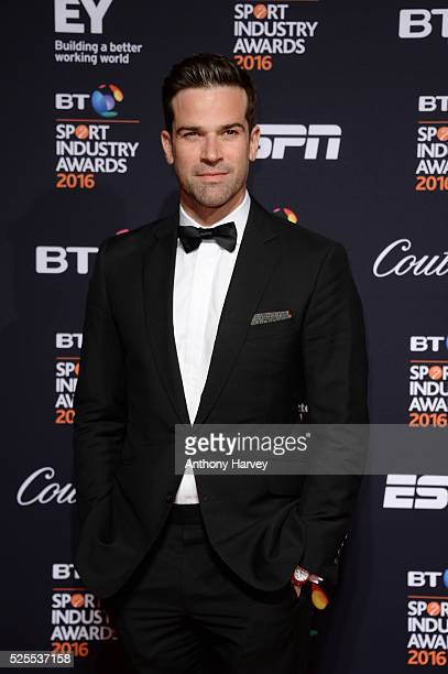 Presenter Gethin Jones poses on the red carpet at the BT Sport Industry Awards 2016 at Battersea Evolution on April 28 2016 in London England The BT...