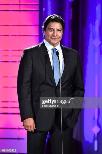 Presenter Gil Birmingham speaks onstage at AARP's 16th Annual Movies For Grownups Awards at the Beverly Wilshire Four Seasons Hotel on February 6...