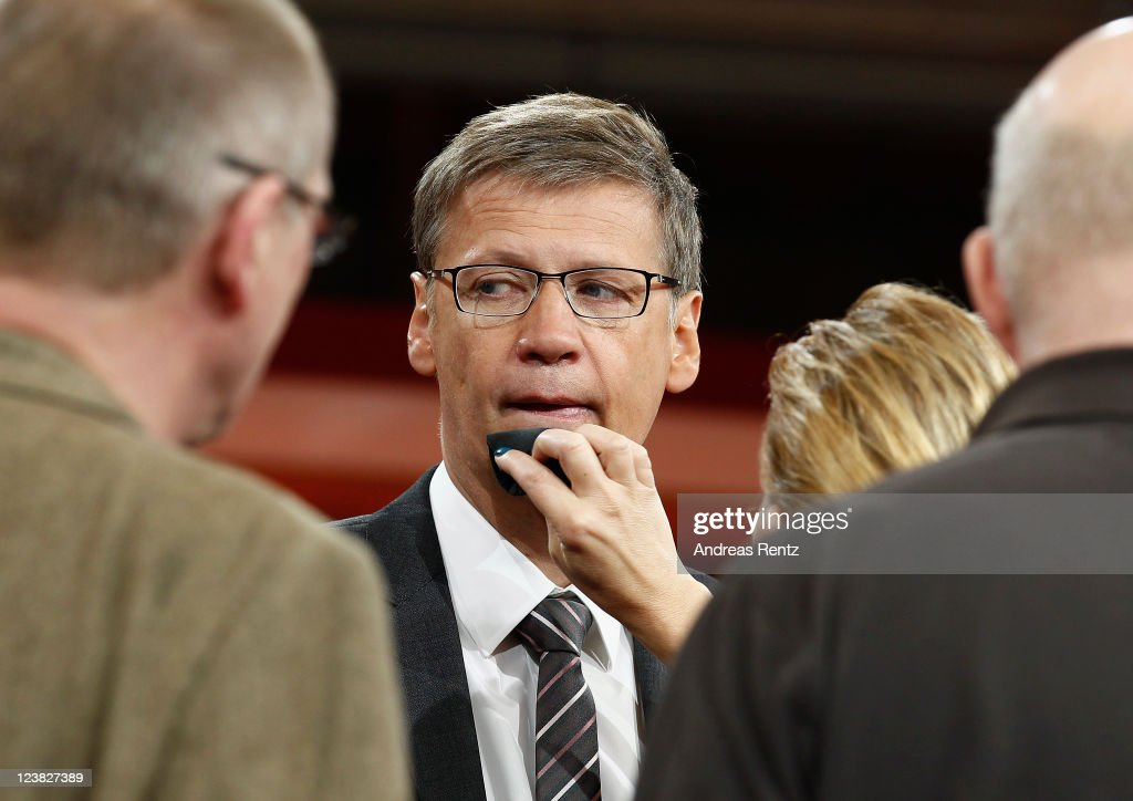 TV presenter Guenther Jauch receives make-up prior to a photocall to promote his new ARD show GUENTHER JAUCH at Gasometer on September 5, 2011 in Berlin, Germany.