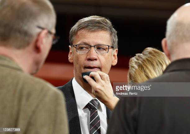 TV presenter Guenther Jauch receives makeup prior to a photocall to promote his new ARD show GUENTHER JAUCH at Gasometer on September 5 2011 in...