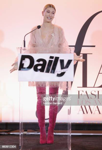 Presenter Hailey Baldwin speaks onstage at the Daily Front Row's 3rd Annual Fashion Los Angeles Awards at Sunset Tower Hotel on April 2 2017 in West...