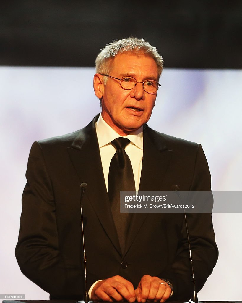 Presenter Harrison Ford onstage at the 2012 BAFTA Los Angeles Britannia Awards Presented By BBC AMERICA at The Beverly Hilton Hotel on November 7, 2012 in Beverly Hills, California.