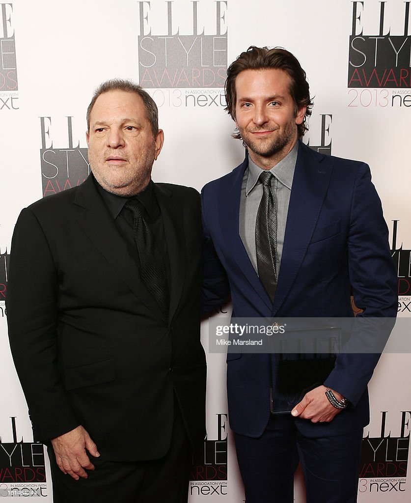 Presenter Harvey Weinstein and and Best Actor winner Bradley Cooper pose in the press room at the Elle Style Awards at The Savoy Hotel on February 11, 2013 in London, England.