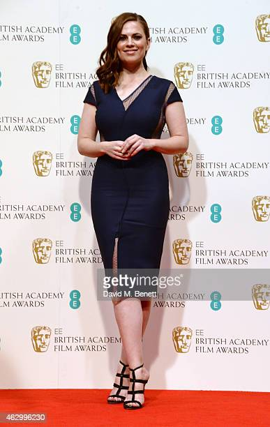 Presenter Hayley Atwell poses in the winners room at the EE British Academy Film Awards at The Royal Opera House on February 8 2015 in London England