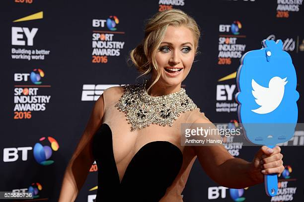 Presenter Hayley McQueen poses on the red carpet at the BT Sport Industry Awards 2016 at Battersea Evolution on April 28 2016 in London England The...