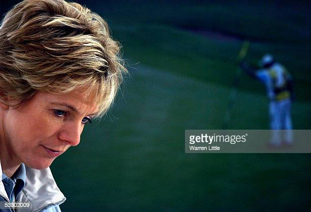 BBC presenter Hazel Irvine in action during the second round of the Weetabix Ladies British Open at the Royal Birkdale Golf Club on July 29 2005 in...