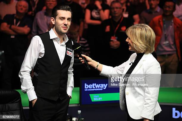 BBC presenter Hazel Irvine interviews Mark Selby during day twelve of the Betway UK Championships 2016 at the York Barbican PRESS ASSOCIATION Photo...