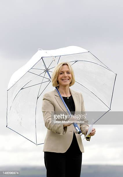 Presenter Hazel Irvine looks on during the final round of the Aberdeen Asset Management Scottish Open at Castle Stuart Golf Links on July 15 2012 in...