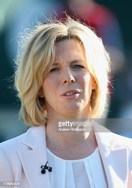 Presenter Hazel Irvine looks on during the second round of the 142nd Open Championship at Muirfield on July 19 2013 in Gullane Scotland