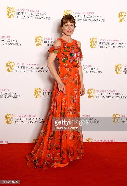 Presenter Helen McCrory poses in the winners room at the House Of Fraser British Academy Television Awards 2016 at the Royal Festival Hall on May 8...