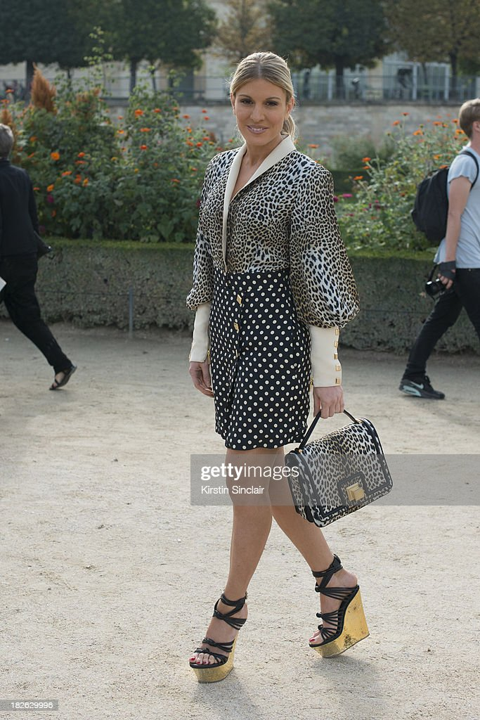 MTV presenter Hofit Golan wearing Emmanuelle Ungaro with Emilio Pucci shoes and a David Wartimer from Chanel Family bracelet on day 7 of Paris Fashion Week Spring/Summer 2014, Paris September 30, 2013 in Paris, France.