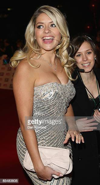 TV presenter Holly Willoughby arrives at the 2008 National Television Awards at The Royal Albert Hall on October 29 2008 in London England