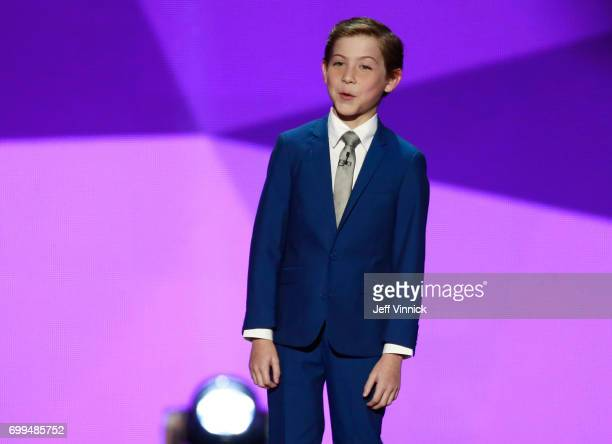 Presenter Jacob Tremblay speaks onstage during the 2017 NHL Awards Expansion Draft at TMobile Arena on June 21 2017 in Las Vegas Nevada