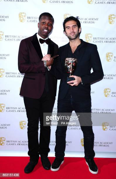 Presenter Jamal Edwards presents Josef Fares with the Game Innovation award for BrothersA Tale Of Two Sons at the British Academy Games Awards at...