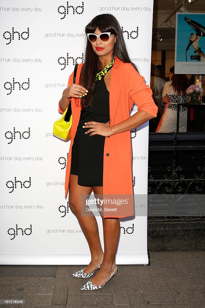 Presenter Jameela Jamil attends ghd's exhibition of iconic beauty must-haves to celebrate the launch of ghd aura, a ground-breaking drying and styling tool on June 25, 2014 in London, England.