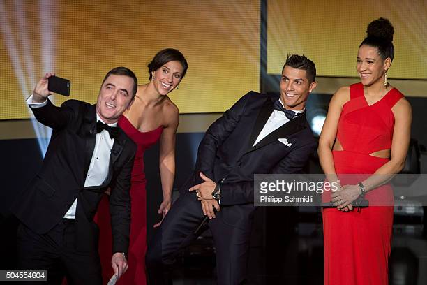 Presenter James Nesbitt takes a photo with Carli Lloyd of the USA and Houston Dash Cristiano Ronaldo of Portugal and Real Madrid and Celia Sasic of...