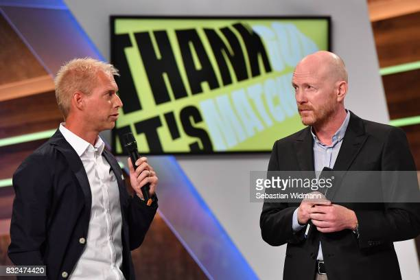 Presenter Jan Henkel and Matthias Sammer talk during the Eurosport Bundesliga Media Day on August 16 2017 in Unterfohring Germany