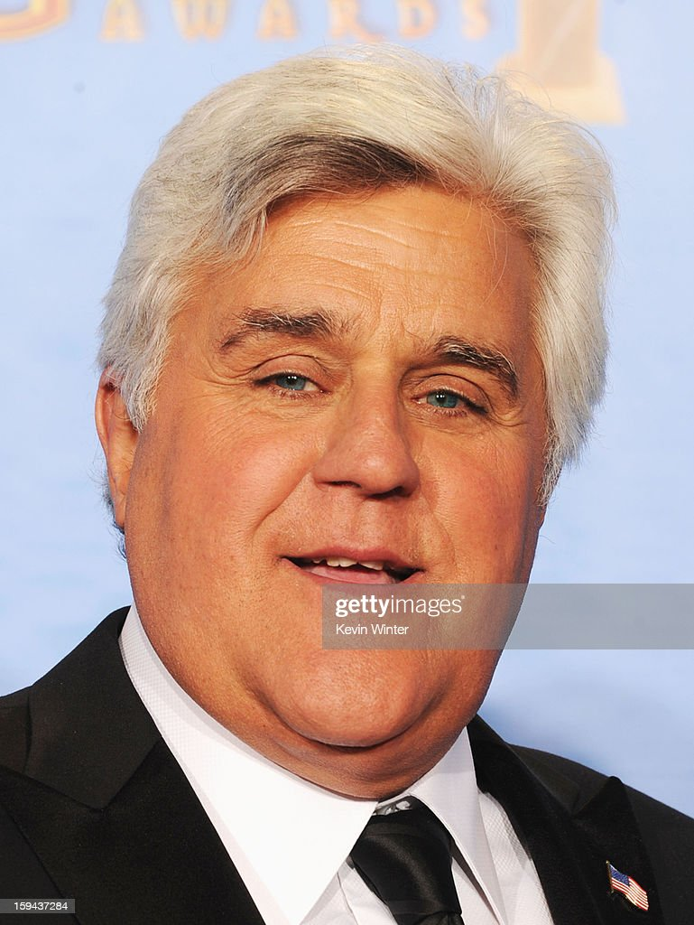 Presenter Jay Leno poses in the press room during the 70th Annual Golden Globe Awards held at The Beverly Hilton Hotel on January 13, 2013 in Beverly Hills, California.
