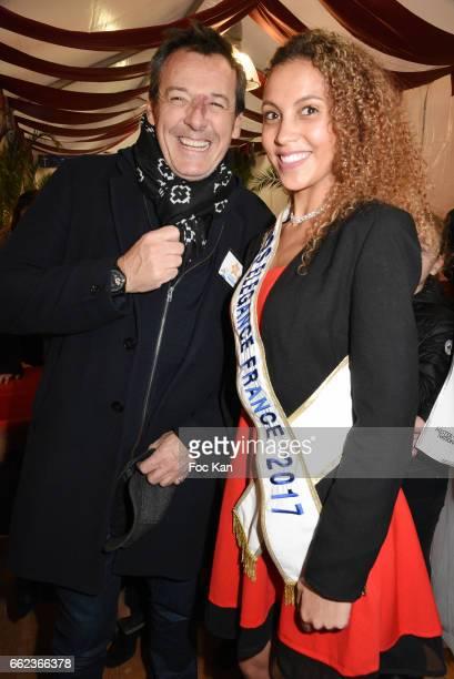 TV presenter Jean Luc Reichmann and a Miss Elegance 2017 attend Foire du Trone Auction Launch Party to benefit 'Les Petits Princes' Children Care...