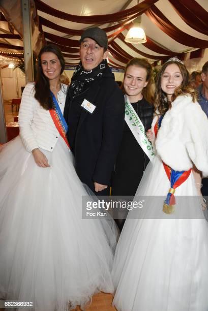TV presenter Jean Luc Reichmann and Foire du Trone Misses attend Foire du Trone Auction Launch Party to benefit 'Les Petits Princes' Children Care...