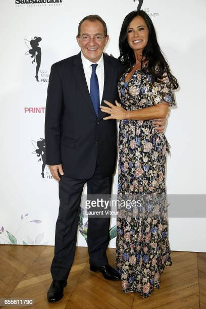 Presenter JeanPierre Pernaut and his Wife Miss France 1987 Nathalie Marquay attends 'Les Bonnes Fees' Charity Gala at Hotel D'Evreux on March 20 2017...