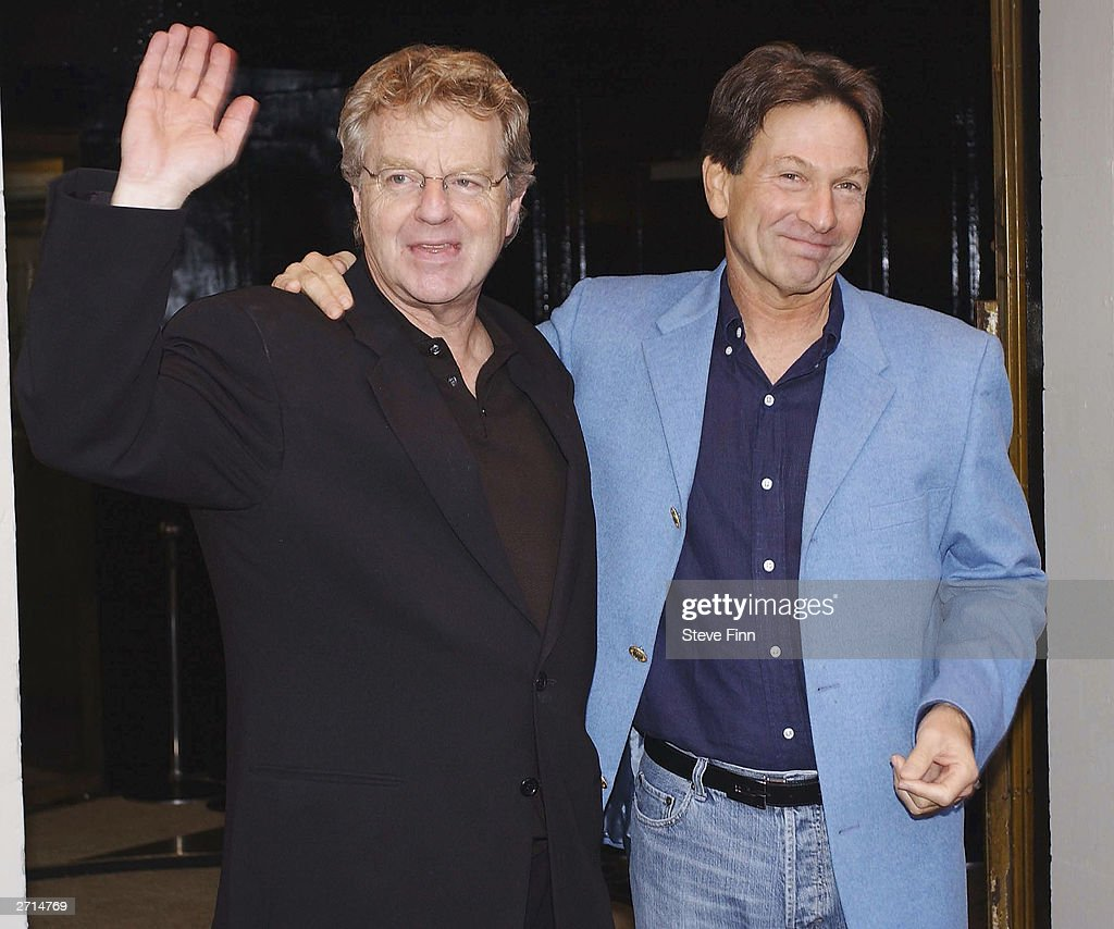 TV Presenter Jerry Springer and Actor Michael Brandon attend a photocall for the Musical 'Jerry Springer - The Opera' at The Cambridge Theatre on November10, 2003 in London.