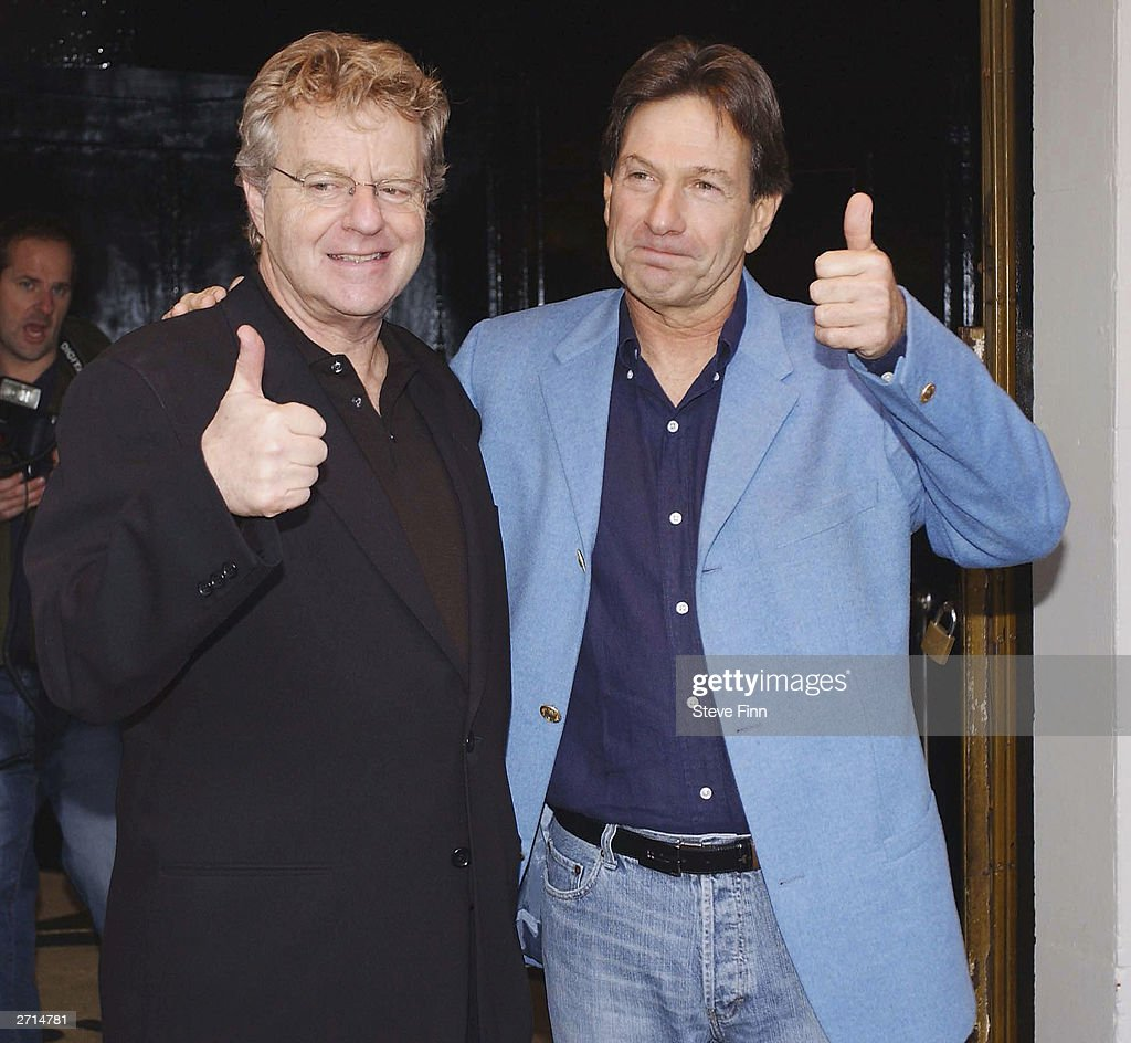 TV Presenter Jerry Springer and Actor Michael Brandon attend a photocall for the Musical 'Jerry Springer - The Opera' at The Cambridge Theatre on November 10, 2003 in London.
