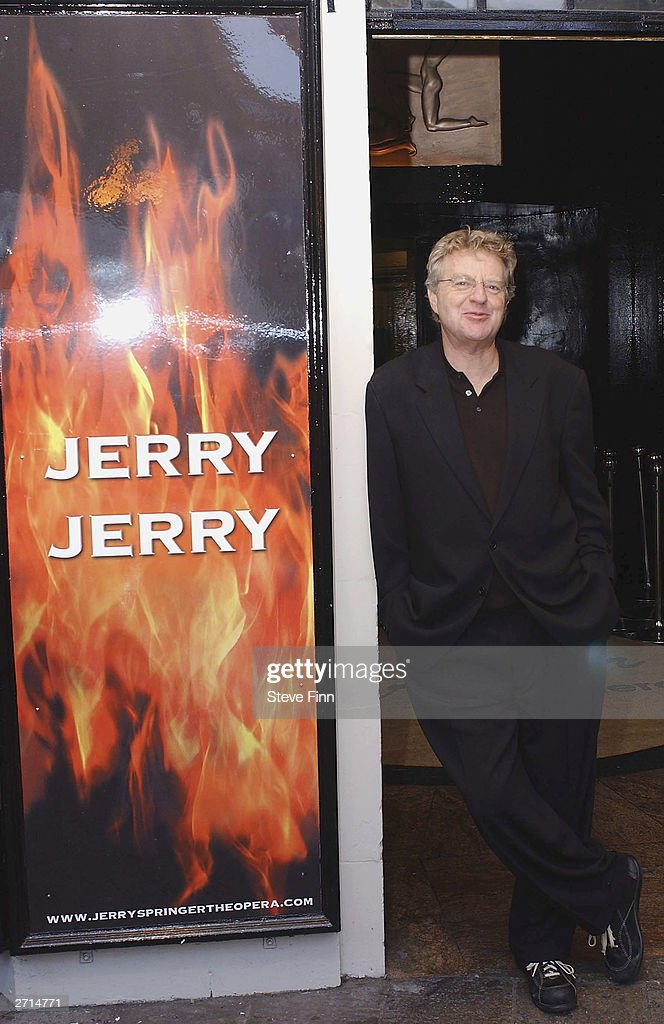 TV Presenter Jerry Springer attends a photocall for the Musical 'Jerry Springer - The Opera' at The Cambridge Theatre on November10, 2003 in London.