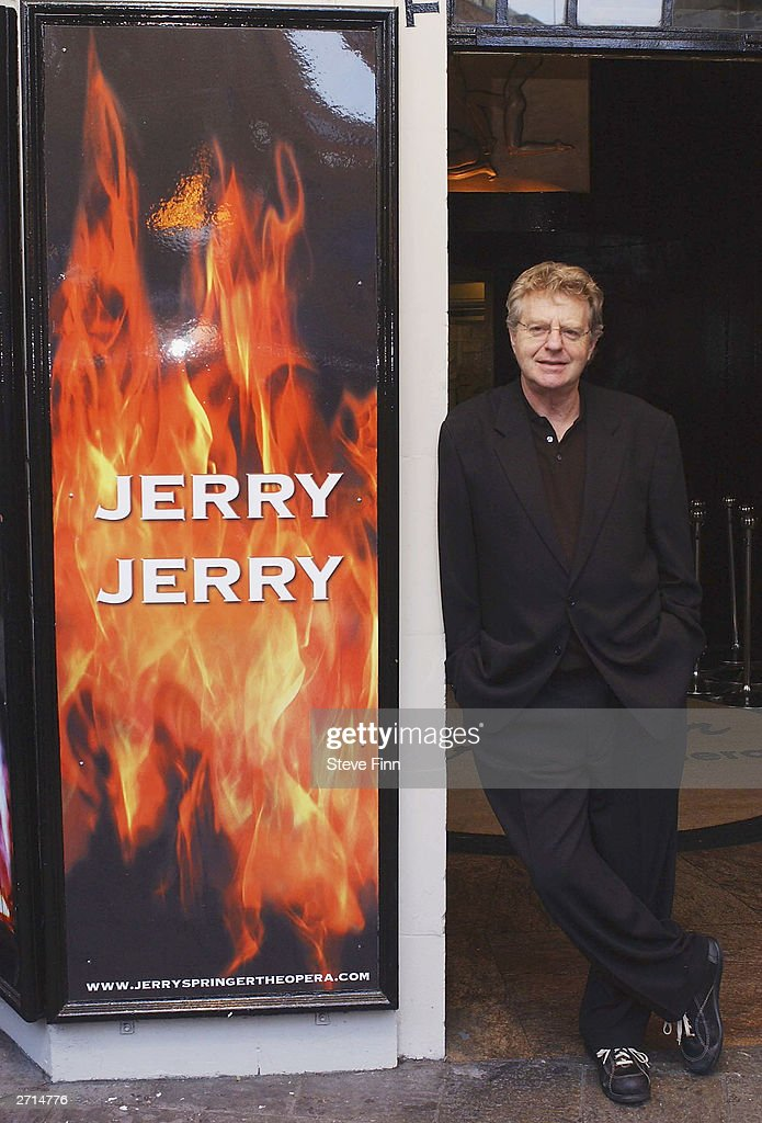 TV Presenter Jerry Springer attends a photocall for the Musical 'Jerry Springer - The Opera' at The Cambridge Theatre on November 10, 2003 in London.