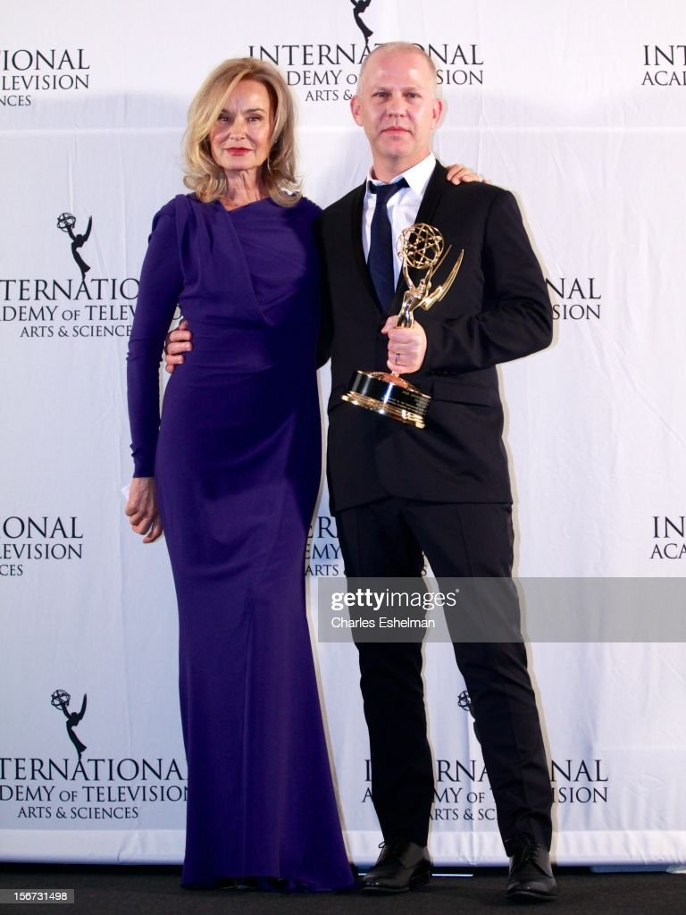 Presenter <a gi-track='captionPersonalityLinkClicked' href=/galleries/search?phrase=Jessica+Lange&family=editorial&specificpeople=203310 ng-click='$event.stopPropagation()'>Jessica Lange</a> and Founders award winner Ryan Murphy attend the 40th International Emmy Awards at Mercury Ballroom at the New York Hilton on November 19, 2012 in New York City.