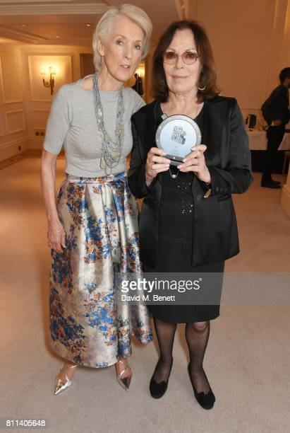 Presenter Joanna Trollope and Rose Tremain winner of the Literature award for 'The Gustav Sonata' pose in the winners room at The South Bank Sky Arts...