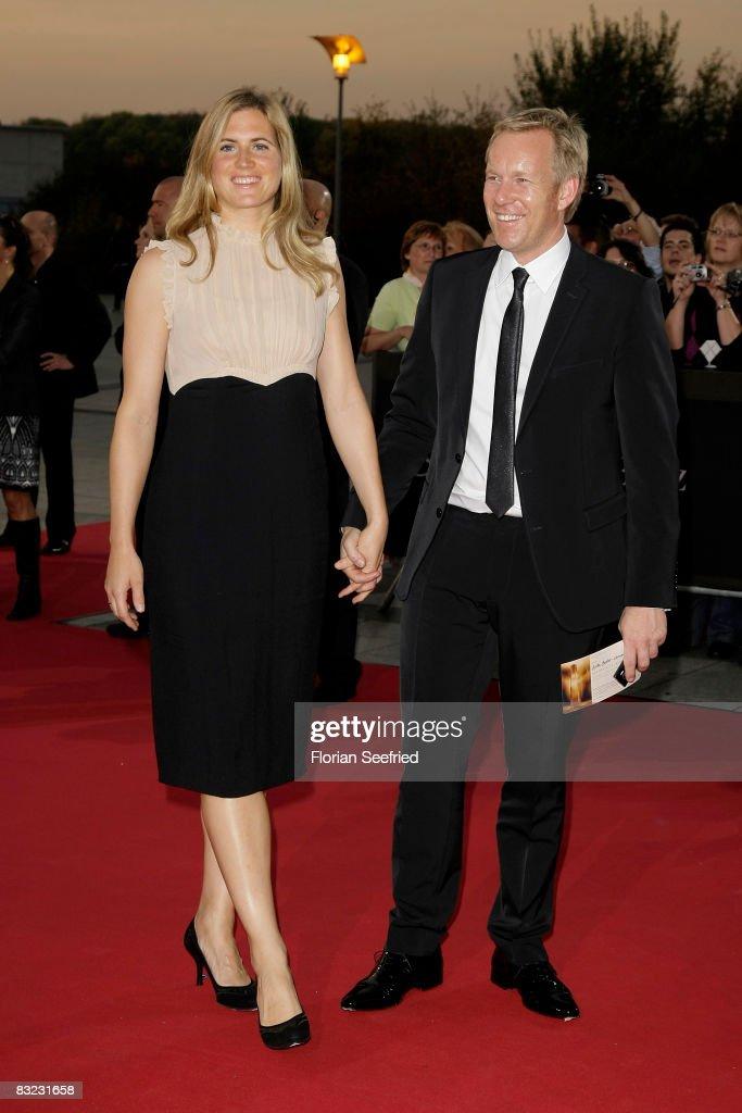 TV Presenter Johannes B. Kerner and wife Britta Becker Kerner arrive for the German TV Award 2008 at the Coloneum on October 11, 2008 in Cologne, Germany.