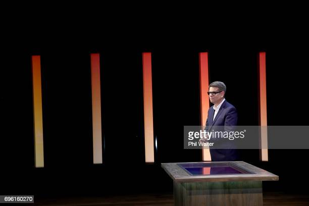 Presenter John Campbell on the TVNZ set of 'What Next' on June 15 2017 in Auckland New Zealand Nigel Latta and John Campbell are teaming up to...