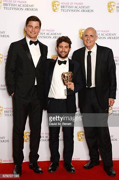 Presenter Josh Hartnett poses with producer Victor Hsu and Jeffrey Tambor accepting the Best International award for 'Transparent' in the winners...