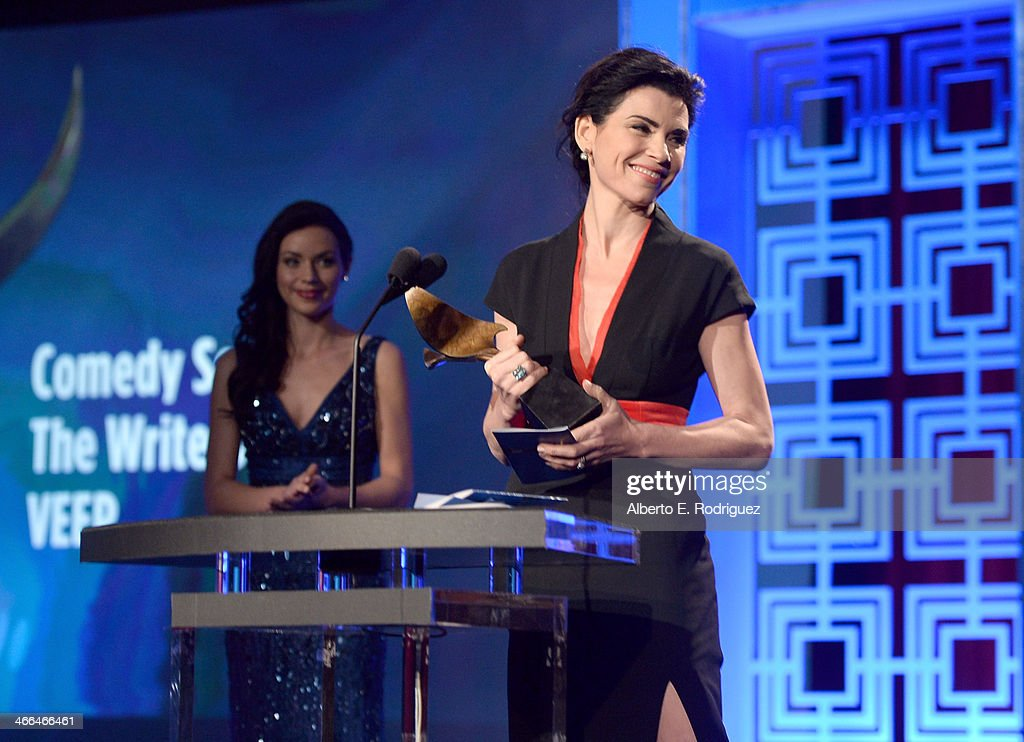 Presenter Julianna Margulies speaks onstage during the 2014 Writers Guild Awards L.A. Ceremony at J.W. Marriott at L.A. Live on February 1, 2014 in Los Angeles, California.