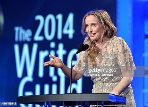 Presenter Julie Delpy speaks onstage during the 2014 Writers Guild Awards LA Ceremony at JW Marriott at LA Live on February 1 2014 in Los Angeles...