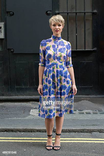 TV presenter Kate Arnell wears Beautiful Soul London dress and Sidney Brown shoes on day 2 during London Fashion Week Spring/Summer 2016/17 on...