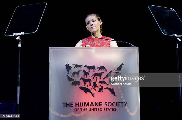 Presenter Kate Mara speaks onstage during The Humane Society of the United States' to the Rescue Gala at Paramount Studios on May 7 2016 in Hollywood...