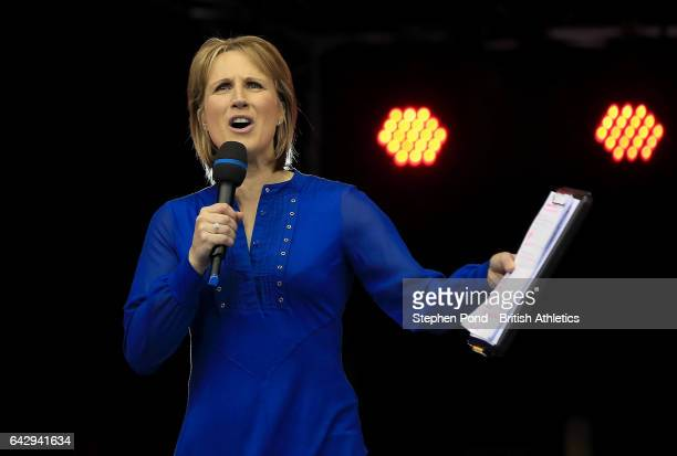 Presenter Katharine Merry greets the spectators during the Muller Indoor Grand Prix 2017 at the Barclaycard Arena on February 18 2017 in Birmingham...